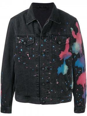 Джинсовая куртка с принтом тай-дай Diesel. Цвет: черный