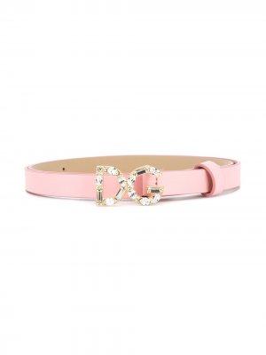 Ремень с пряжкой DG Dolce & Gabbana Kids. Цвет: розовый