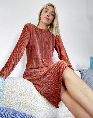 Плиссированное платье A-силуэта медного цвета -Золотой b.Young