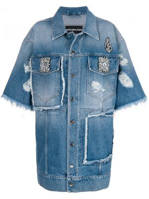 Джинсовая куртка оверсайз с отделкой Marco Bologna. Цвет: синий