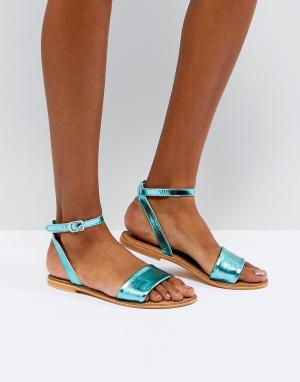Кожаные сандалии ASOS FLORENCE DESIGN. Цвет: зеленый