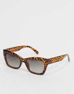 Квадратные солнцезащитные очки в черепаховой оправе -Коричневый AJ Morgan
