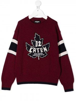 Вязаный свитер с нашивкой-логотипом Dsquared2 Kids. Цвет: красный