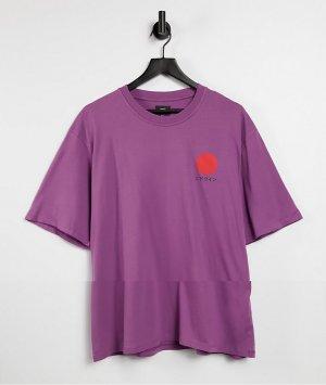 Фиолетовая футболка с принтом солнца в японском стиле -Фиолетовый цвет Edwin