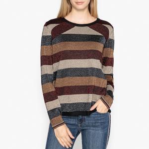 Пуловер с круглым вырезом из тонкого трикотажа OSCAR BERENICE. Цвет: разноцветный