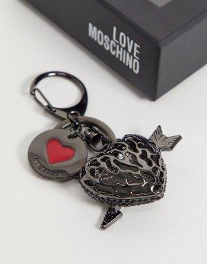 Серый брелок для ключей с подвеской в виде сердца Love Moschino