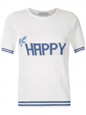 Трикотажная футболка Be Happy Martha Medeiros. Цвет: белый