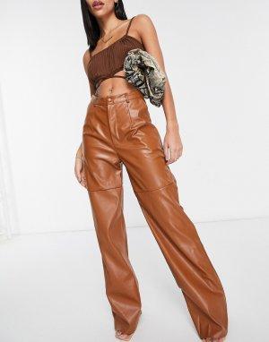 Прямые брюки из искусственной кожи светло-коричневого цвета от комплекта -Коричневый цвет Missguided