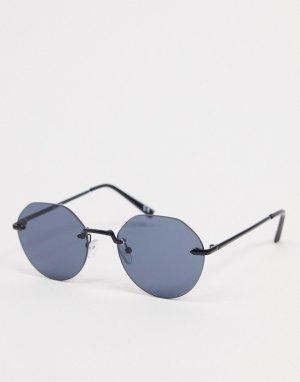Черные солнцезащитные очки с оригинальным дизайном без оправы -Черный цвет ASOS DESIGN