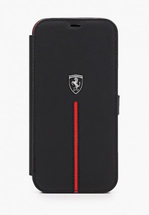 Чехол для iPhone Ferrari 12 Pro Max (6.7), Off-Track Genuine leather Stitched stripe Black. Цвет: черный