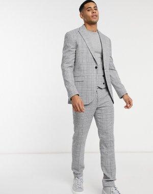 Зауженный однобортный пиджак серого цвета в клетку -Серый Topman