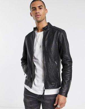 Черная кожаная куртка узкого кроя на молнии -Черный AllSaints