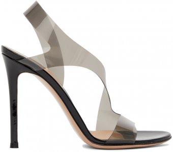Black Metropolis 105 Heeled Sandals Gianvito Rossi. Цвет: fume+black