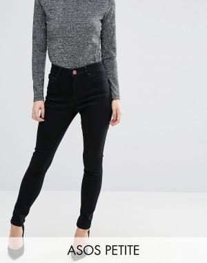 Черные джинсы с завышенной талией ASOS PETITE Sculpt Me. Цвет: черный