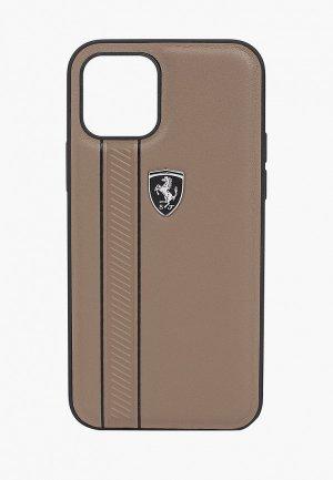 Чехол для iPhone Ferrari 12/12 Pro (6.1), Off-Track Genuine leather Stitched stipe Brown. Цвет: коричневый