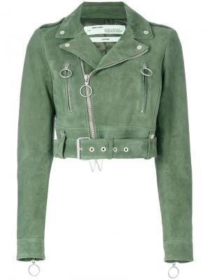 Укороченная байкерская куртка Off-White. Цвет: зелёный