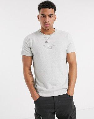 Серая футболка в полоску с круглым вырезом -Серый Abercrombie & Fitch