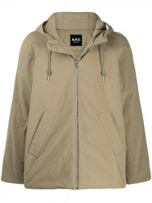Куртка на молнии с капюшоном A.P.C.. Цвет: зеленый