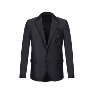 Пиджак из смеси хлопка и шелка Dolce & Gabbana. Цвет: синий