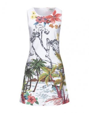 Короткое платье DESIGUAL. Цвет: белый