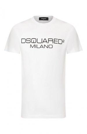 Хлопковая футболка Dsquared2. Цвет: белый
