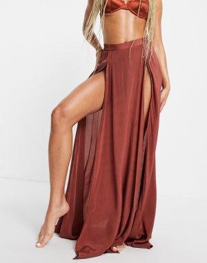 Коричневая пляжная юбка макси с разрезом от комплекта -Коричневый цвет ASOS DESIGN