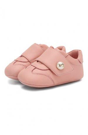 Кожаные пинетки Dolce & Gabbana. Цвет: розовый