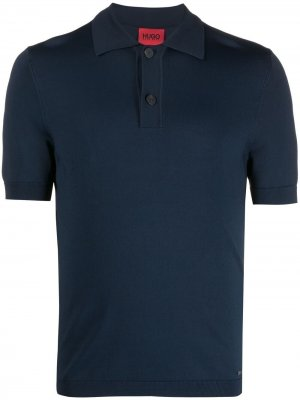 Рубашка поло Boss Hugo. Цвет: синий