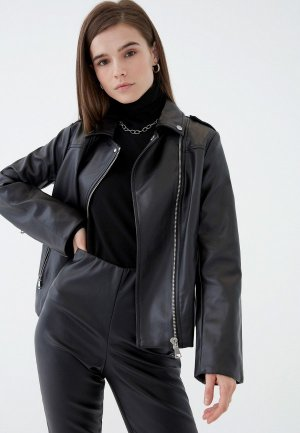 Куртка кожаная Zarina. Цвет: черный