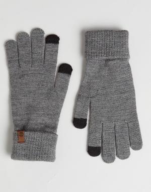 Серые трикотажные перчатки для сенсорных гаджетов Magic Timberland. Цвет: серый