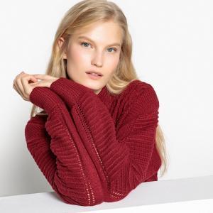 Пуловер с воротником-стойкой из плотного трикотажа PEPE JEANS. Цвет: бордовый