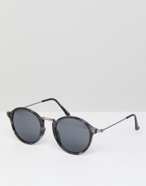 Круглые солнцезащитные очки в серой черепаховой оправе -Серый AJ Morgan