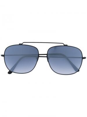 Солнцезащитные очки в закругленной квадратной оправе Spektre. Цвет: чёрный