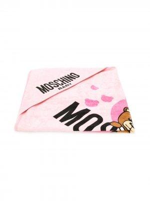 Полотенце с принтом Teddy Bear и логотипом Moschino Kids. Цвет: розовый