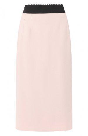 Юбка-миди Dolce & Gabbana. Цвет: светло-розовый