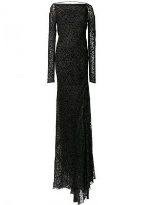 Длинное бархатное драпированное платье Edun. Цвет: чёрный