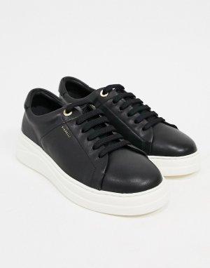 Черные кожаные кроссовки на шнуровке Anouk-Черный Fiorelli