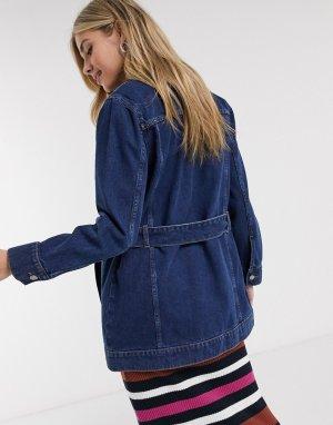 Джинсовая куртка с поясом -Голубой Brave Soul