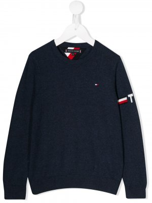 Джемпер с вышитым логотипом Tommy Hilfiger Junior. Цвет: синий
