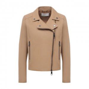 Кожаная куртка BOSS. Цвет: бежевый