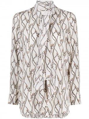 Блузка с декором Gancini Salvatore Ferragamo. Цвет: нейтральные цвета