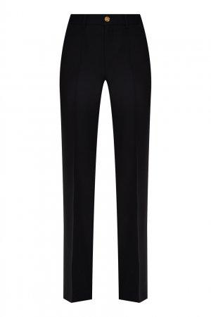 Расклешенные брюки из шерсти и шелка Gucci. Цвет: черный