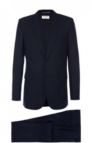 Шерстяной приталенный костюм Saint Laurent. Цвет: темно-синий