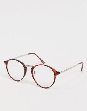 Очки в круглой оправе с прозрачными линзами -Коричневый ASOS DESIGN