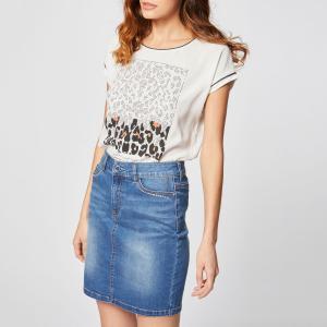 Юбка короткая из джинсовой ткани с блестками на карманах MORGAN. Цвет: синий потертый