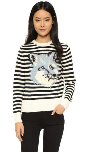 Пуловер из жаккарда с изображением головы лисы. Maison Kitsune