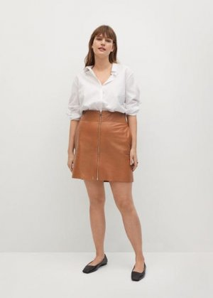 Кожаная юбка с молнией - Minis Mango. Цвет: коричневый средний