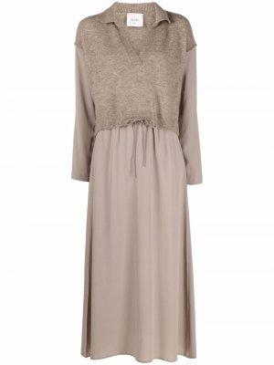 Платье с косым воротником Alysi. Цвет: коричневый