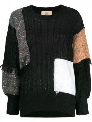 Джемпер со вставками в стиле колор-блок Maison Flaneur. Цвет: черный