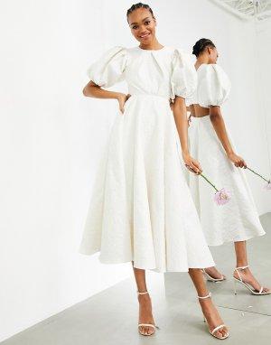 Свадебное жаккардовое платье с пышными рукавами и вырезом на спине Bridget-Белый ASOS EDITION